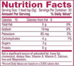 However The Actual Fda Required Nutrition Facts Printed